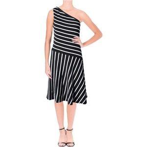 LAUREN RALPH LAUREN Striped one shoulder dress, S